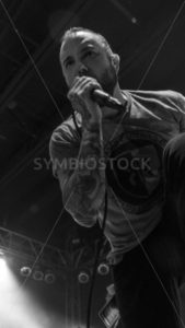 BOISE, IDAHO – FEBRUARY 15, 2015: August Burns Red's Jake Luhrs on the stage screaming his vocals - Shot Your show