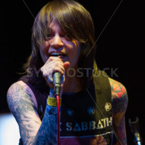 BOISE, IDAHO/USA – MARCH 8TH, 2015: Close up view of Renee Phoenix on stage at the Knitting Factory - Shot Your show