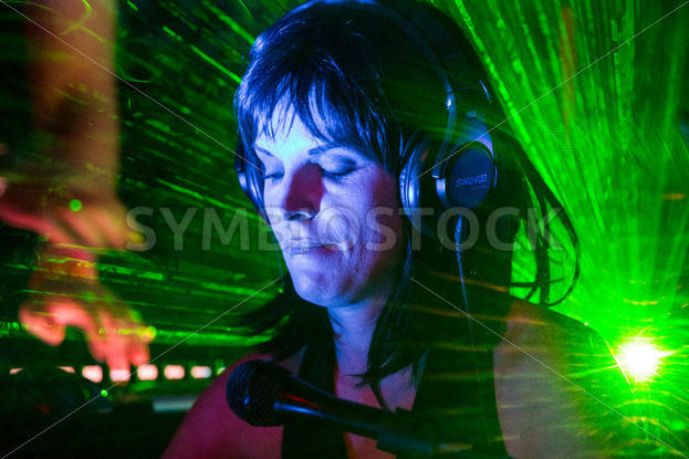 BOISE, IDAHO/USA MARCH 26, 2015: Performer back backlit by lazer at the Treefort Music Fest in Boise - Shot Your show