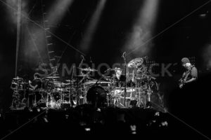 NAMPA, IDAHO - SEPTEMBER 25 : Godsmack having it's drum duel with Tony Rombola playing guitar at the Rockstar Uproar Festival on September 25, 2012 in Nampa, Idaho.  - Shot Your show
