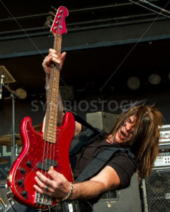 NAMPA, IDAHO - SEPTEMBER 25: Paul Di Leo from fozzy gets the bass guitar going at the Rockstar Uproar Festival on September 25 2012 - Shot Your show