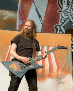 NAMPA/IDAHO - JULY 2: Amon Amarth guitarist Johan Soderberg on stage with his guitar at the Rockstar Mayhem Festival in Nampa, Idaho on July 2nd, 2013 - Shot Your show