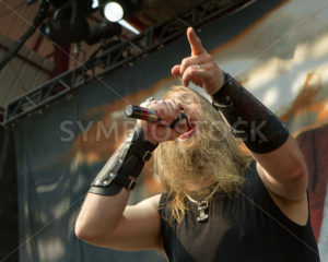 NAMPA/IDAHO - JULY 2: Singer Johan Hegg from Amon Amarth performs on stage at the Rockstar Mayhem Festival in Nampa, Idaho July 2nd 2013. - Shot Your show