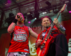 NAMPA/IDAHO - JULY 2: Zoltan Bathory and Ivan Moody from Mastodon stand together during the performance at the Rockstar Mayhem Festival in Nampa, Idaho July 2nd, 2013 - Shot Your show