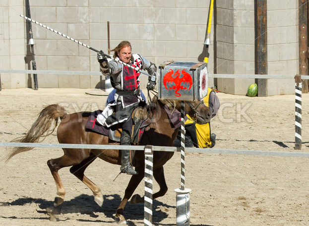 BOISE, IDAHO – JULY 4 : The red knight makes contact with his charge during the Idaho Fair in Boise, Idaho August 19, 2012 - Shot Your show