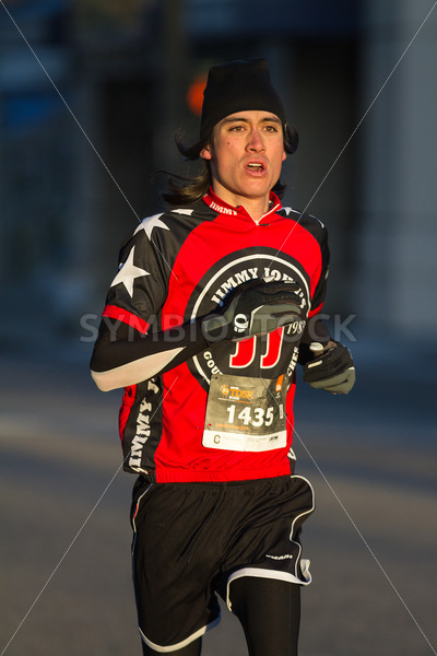 BOISE, IDAHO – NOVEMBER 22: Runner 1435 wears a Jimmy Johns outfit while participating at The Turkey Day 5k in Boise, Idaho on November 22, 2012 - Shot Your show
