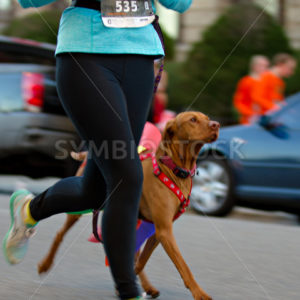 BOISE, IDAHO – NOVEMBER 22:  Woman 535 and her pet dog running through the Turkey Day 5k in Boise, Idaho on November 22, 2012 - Shot Your show