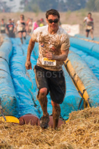 BOISE, IDAHO/USA - AUGUST 10: Runner 8385 runs to the finish at the The Dirty Dash in Boise, Idaho on August 10, 2013  - Shot Your show