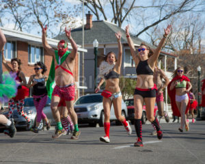 BOISE, IDAHO/USA FEBRUARY 13, 2016: Group of people near the start line of the Cupids underwear run in Boise, Idaho - Shot Your show