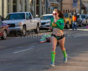 BOISE, IDAHO/USA FEBRUARY 13, 2016: Woman with a huge smile running in her undies for the Cupids Undie Run in Boise, Idaho - Shot Your show