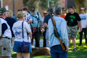BOISE, IDAHO/USA - JULY 1, 2016: Man wearing his shotgun on his shoulder to support the permitless carry law passed in idaho - Shot Your show