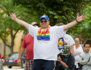 BOISE, IDAHO/USA - JUNE 20, 2016: Man celebrating during the Boise Pridefest Parade - Shot Your show