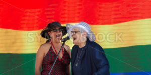BOISE, IDAHO/USA - JUNE 20, 2016: Two women siging during the boise Pride Festival concert - Shot Your show