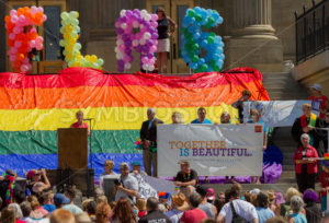 BOISE, IDAHO/USA - JUNE 20, 2016: Woman addressing the crowd at the Boise Pridefest  - Shot Your show