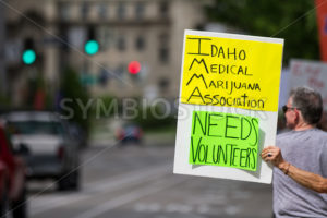 BOISE, IDAHO/USA - MAY 7, 2016: Sign being displayed during the pro Marijuana March to the Boise capital - Shot Your show