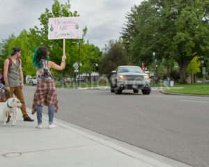 BOISE, IDAHO/USA - MAY 7, 2016: Woman holding a sign in support of canabis - Shot Your show