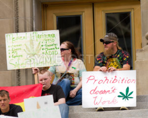 BOISE, IDAHO/USA - MAY 7, 2016: signs regarding Marijuana being legal at the Global Marijana March in Boise, Idaho - Shot Your show