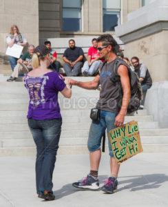 BOISE, IDAHO/USA - MAY 7, 2016:BOISE, IDAHO/USA - MAY 7, 2016: Man wants to get hi wants to speak during the boise marijuana march - Shot Your show