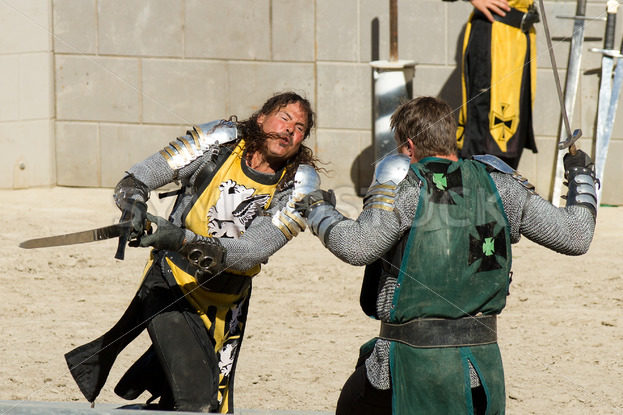 BOISE/IDAHO – AUGUST 19: The yellow knight missed his attack against the green knight during the Idaho Fair on August 19th, 2012 in Boise Idaho - Shot Your show