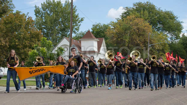 CALDWELL, IDAHO/USA – SEPTEMBER 27: The high school band plays music at the Caldwell High School Homecoming parade on September 27, 2013 - Shot Your show