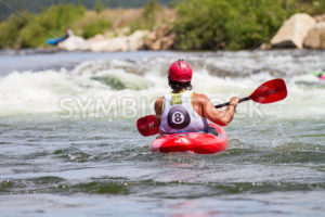 CASCADE, IDAHO/USA - JUNE 21, 2014: Image of a man waiting for the 8 ball Match to start at the Payette River Games in Cascade, Idaho - Shot Your show