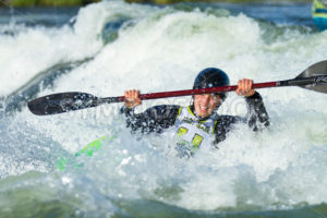 CASCADE, IDAHO/USA - JUNE 21, 2014: Kayaker smiles while on the river at the Payette River Games - Shot Your show