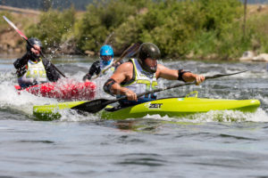 CASCADE, IDAHO/USA - JUNE 21, 2014: Kayakers compete during the Payette River Games in Cascade, Idaho - Shot Your show