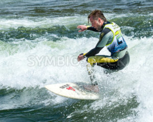 CASCADE, IDAHO/USA - JUNE 21, 2014: Number 24 trying to win surfing the river and the Payette River Games - Shot Your show