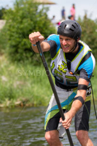 CASCADE, IDAHO/USA - JUNE 21, 2014: Racer 162 in the stand up paddle board race  - Shot Your show