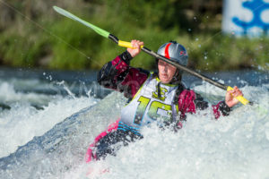 CASCADE, IDAHO/USA - JUNE 21, 2014: Unidentified Kayaker trying to work the rapids at the Payette River Games in Cascade, Idaho - Shot Your show