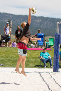CASCADE, IDAHO/USA - JUNE 21, 2014: Unidentified man spikes the ball at the Payette River Games - Shot Your show