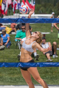 CASCADE, IDAHO/USA - JUNE 21, 2014: Unidentified woman spikes the ball at the Payette River Games - Shot Your show