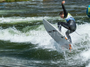 CASCADE, IDAHO/USA - JUNE 21, 2014: Up in the air one of the contest goes during the Payette River Games - Shot Your show