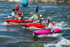 CASCADE, IDAHO/USA - JUNE 21, 2014: group of people trying to race to the finish during the kayak portion of the Payette River Games - Shot Your show
