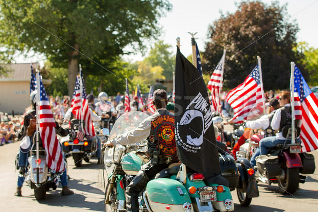 MIDDLETON , IDAHO – JULY 4: Group of motorcycle riders participate in the yearly fourth of july parade in Middleton, Idaho on July 4th 2012 - Shot Your show