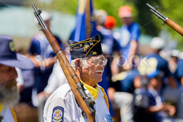 MIDDLETON, IDAHO – JULY 4: Pat Oatman of post 39 with the American legion on parade in Middleton, Idaho July 4th, 2012 - Shot Your show